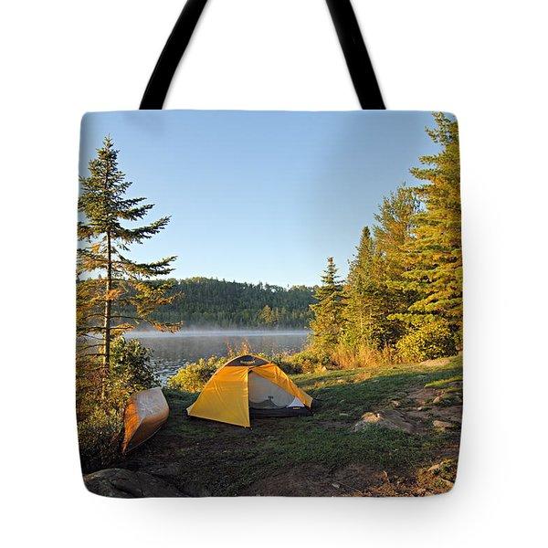 Campsite On Alder Lake Tote Bag by Larry Ricker