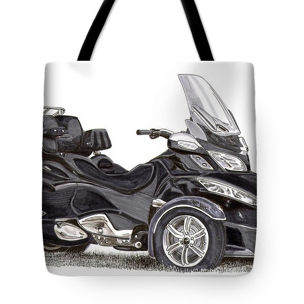 Tote Bag featuring the painting Can-am Spyder Trike by Jack Pumphrey