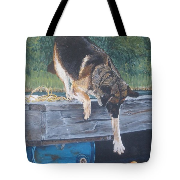 Tote Bag featuring the painting Can She... by Betty-Anne McDonald