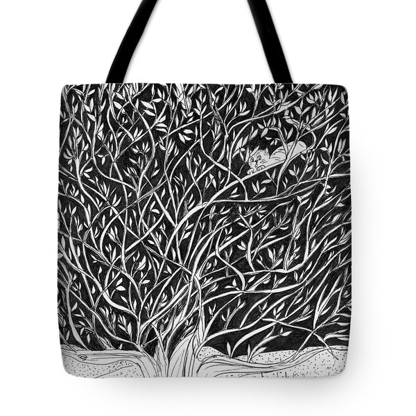 Tote Bag featuring the painting Can You See Me? by Lou Belcher