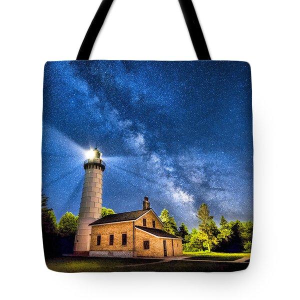 Cana Island Lighthouse Milky Way In Door County Wisconsin Tote Bag