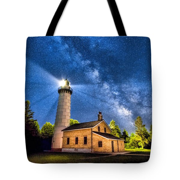 Cana Island Lighthouse Milky Way In Door County Wisconsin Tote Bag by Christopher Arndt