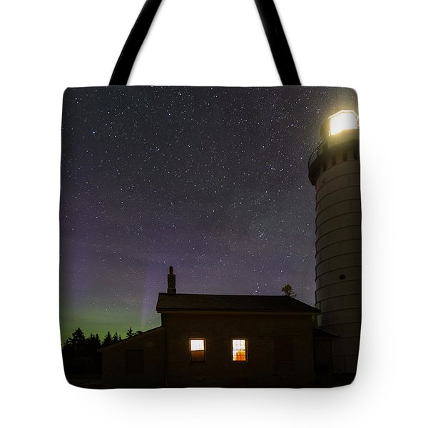 Tote Bag featuring the photograph Cana Island Northern Lights by Paul Schultz