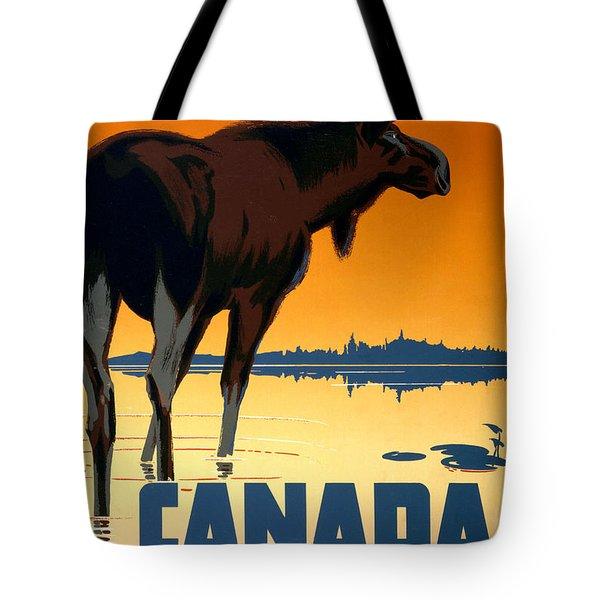 Canada Big Game Vintage Travel Poster Restored Tote Bag