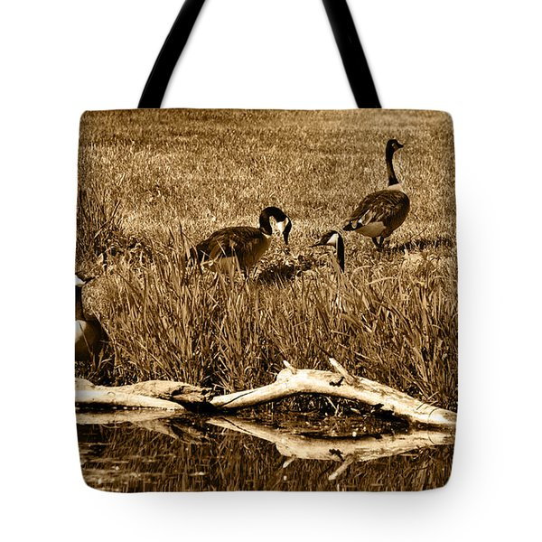 Canada Geese Lakeside Tote Bag