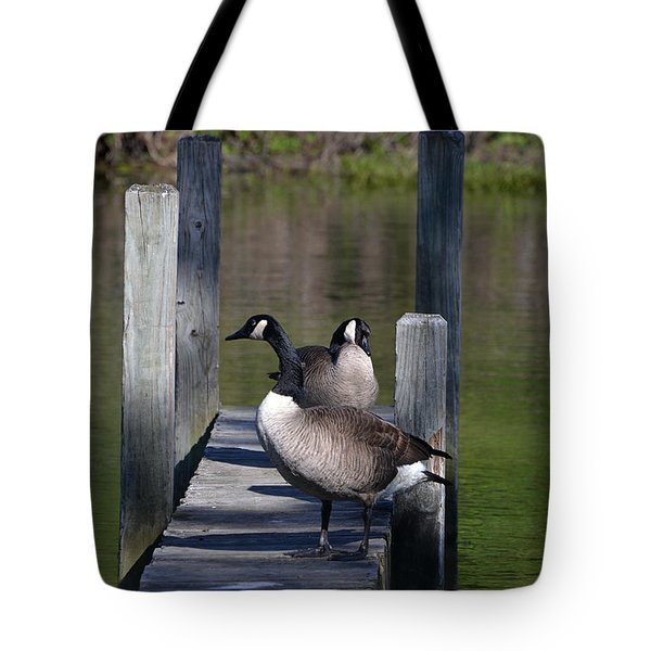 Canada Geese On Dock Tote Bag