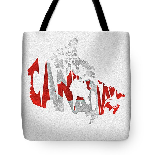 Canada Typographic Map Flag Tote Bag