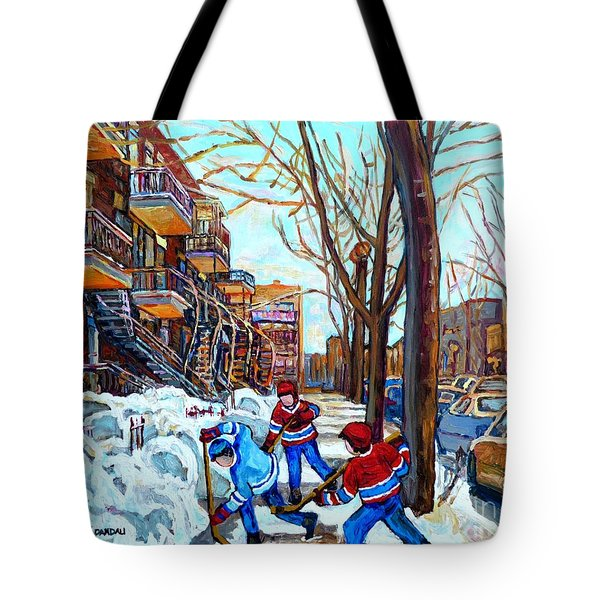 Canadian Art Street Hockey Game Verdun Montreal Memories Winter City Scene Paintings Carole Spandau Tote Bag