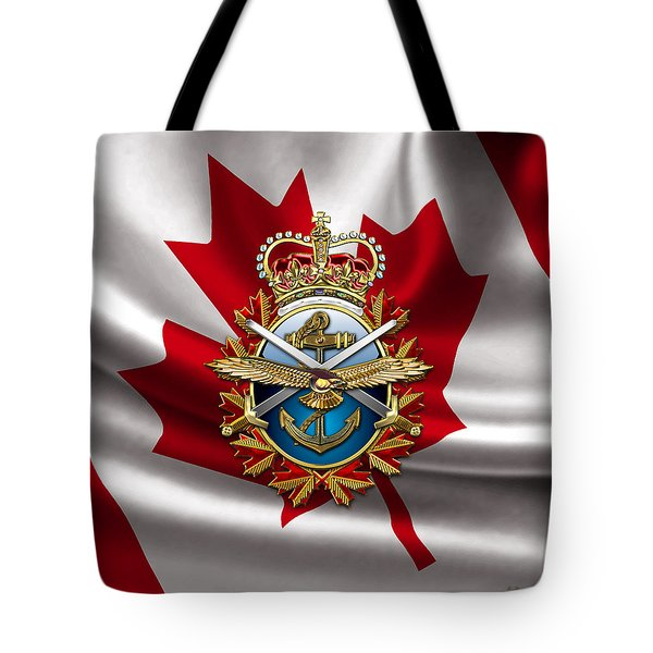 Canadian Forces Emblem Over Flag Tote Bag