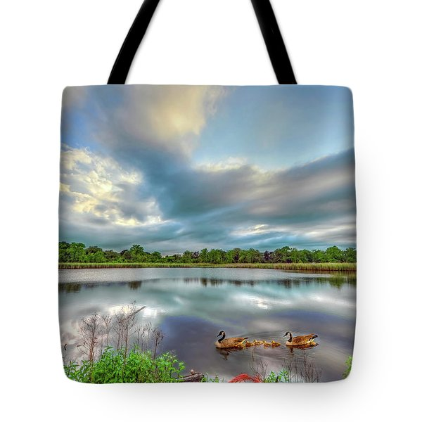 Canadian Geese On A Marylamd Pond Tote Bag