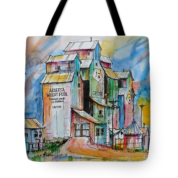 Tote Bag featuring the painting Canadian Grain Elevators by Terry Banderas