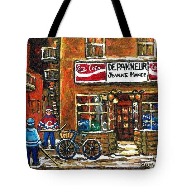 Canadian Hockey Art Night Scene Coca Cola Depanneur Best Montreal Art Quebec Paintings For Sale Tote Bag