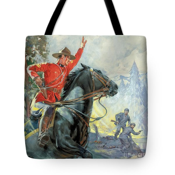 Canadian Mounties Tote Bag by James Edwin McConnell