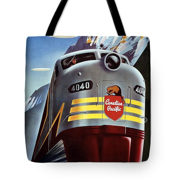 Canadian Pacific - Railroad Engine, Mountains - Retro Travel Poster - Vintage Poster Tote Bag