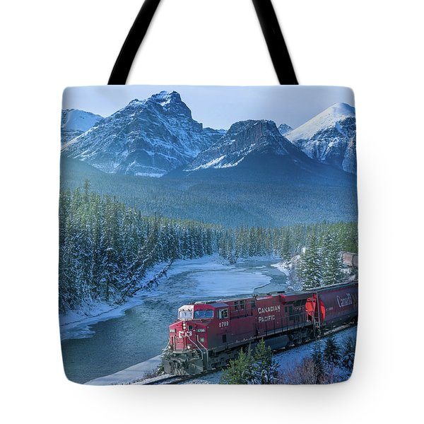 Canadian Pacific Railway Through The Rocky Mountains Tote Bag by Rod Jellison
