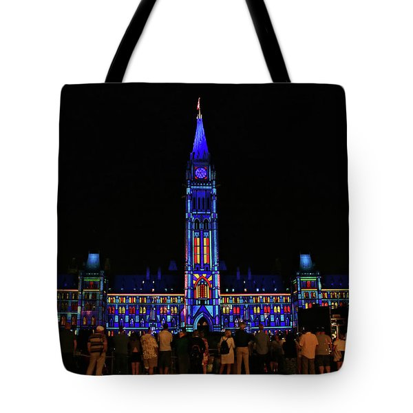 Canadian Parliament Light Show Tote Bag by Charline Xia