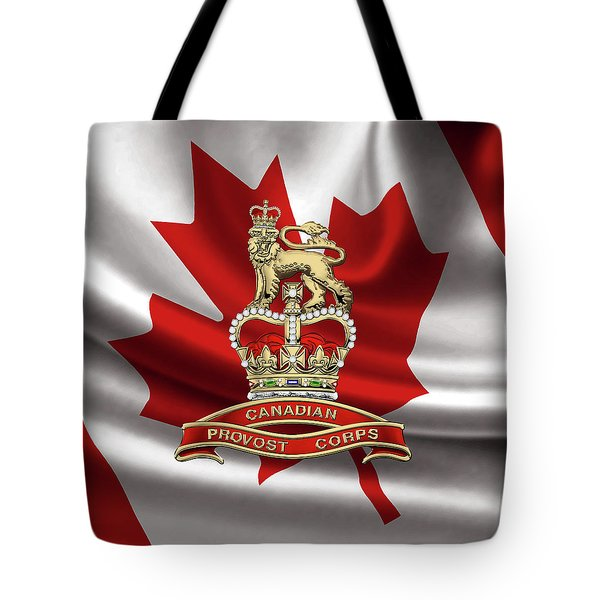 Canadian Provost Corps - C Pro C Badge Over Canadian Flag Tote Bag by Serge Averbukh