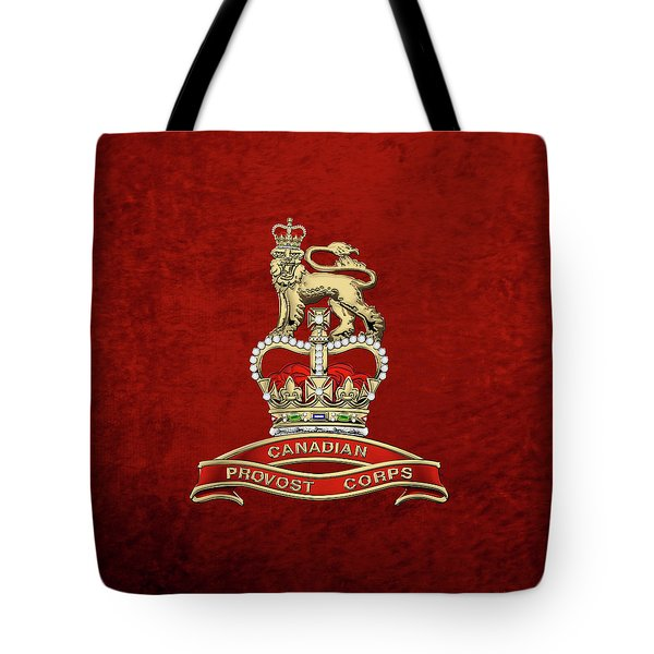 Canadian Provost Corps - C Pro C Badge Over Red Velvet Tote Bag by Serge Averbukh
