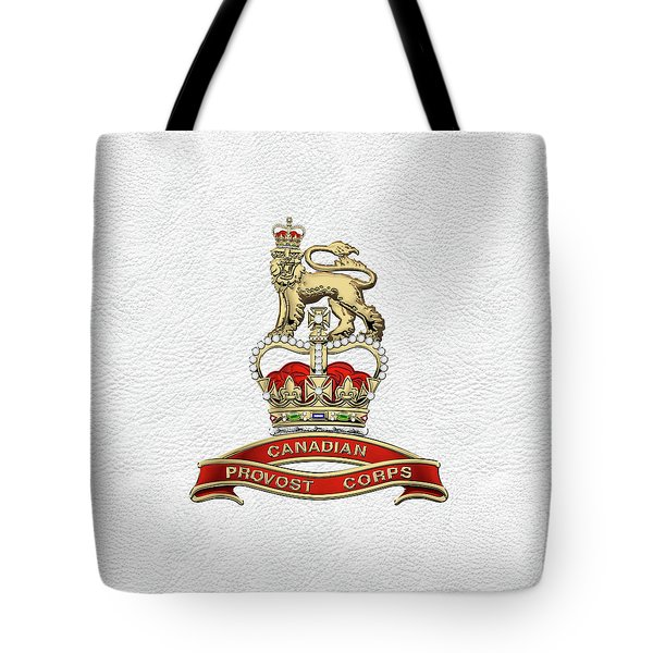 Canadian Provost Corps - C Pro C Badge Over White Leather Tote Bag by Serge Averbukh