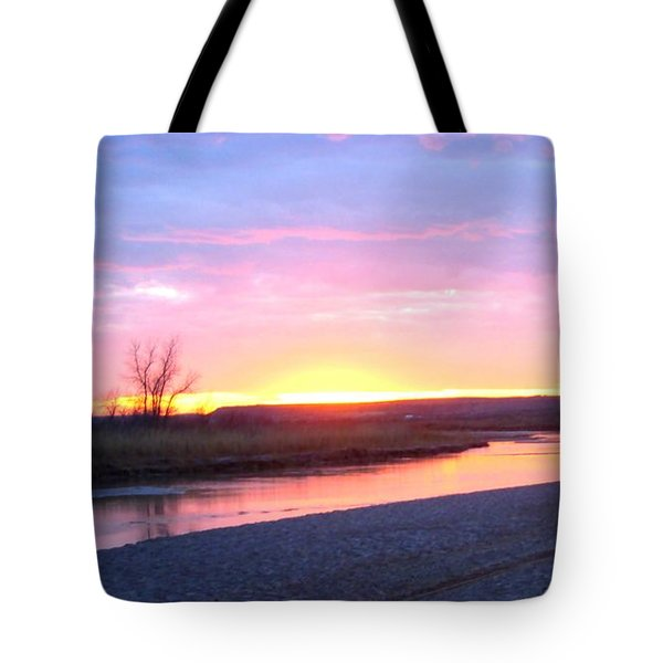 Tote Bag featuring the photograph Canadian River Sunset by Deleas Kilgore