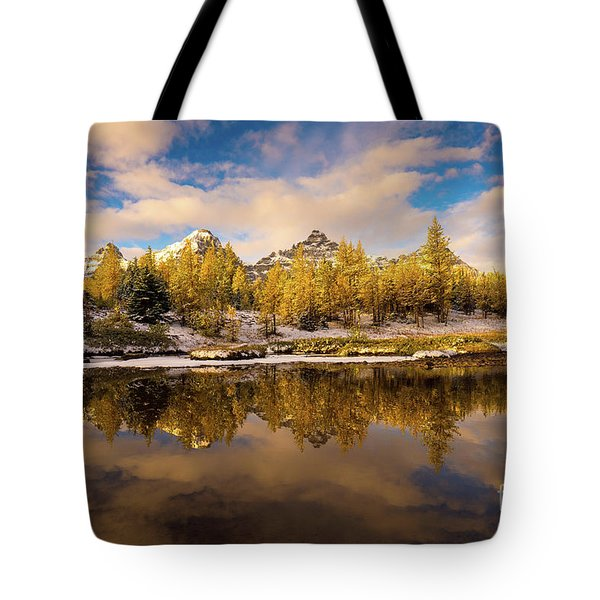 Canadian Rockies Golden Larches And Towering Peaks Tote Bag