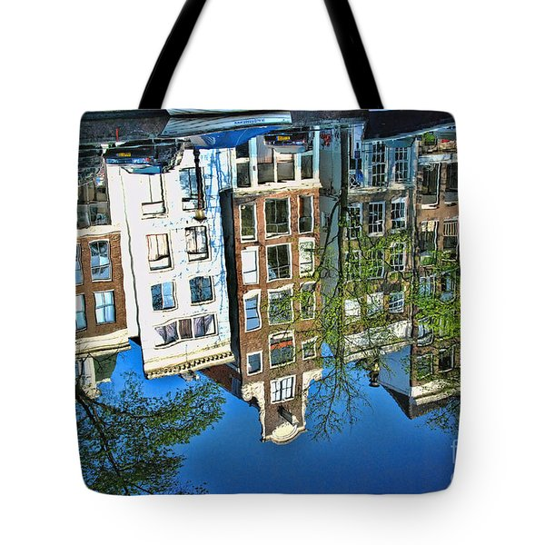 Tote Bag featuring the photograph Amsterdam Canal Reflection  by Allen Beatty