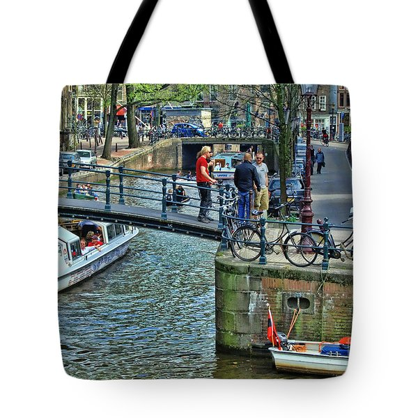 Tote Bag featuring the photograph Amsterdam Canal Scene 1 by Allen Beatty