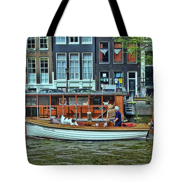 Tote Bag featuring the photograph Amsterdam Canal Scene 10 by Allen Beatty