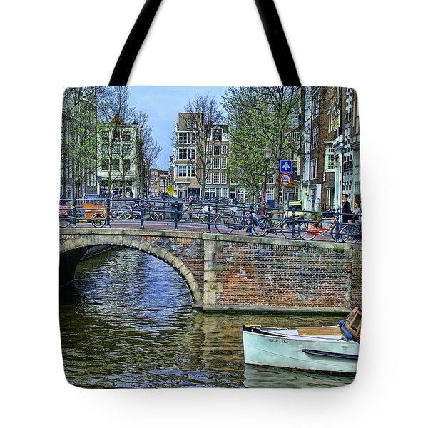 Tote Bag featuring the photograph Amsterdam Canal Scene 3 by Allen Beatty