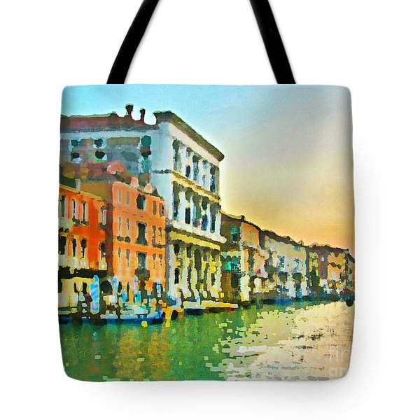 Canal Sunset - Venice Tote Bag by Tom Cameron