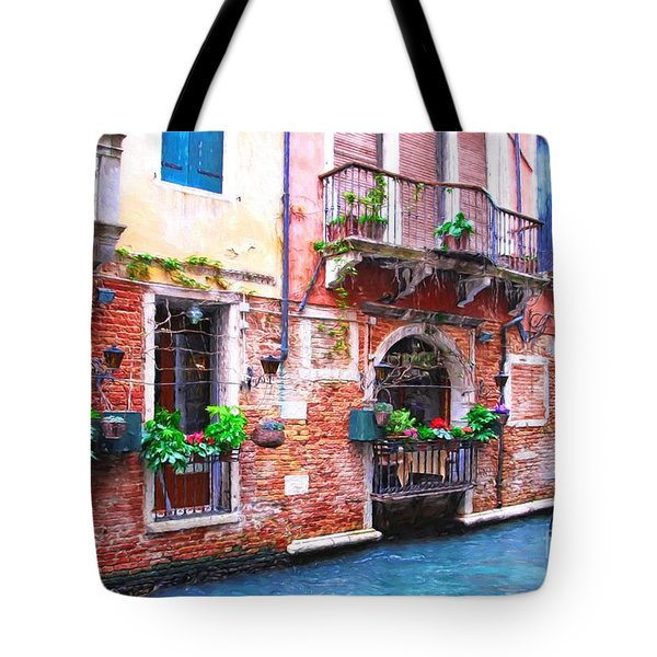 Tote Bag featuring the photograph Canals Of Venice # 5 by Mel Steinhauer