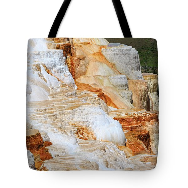 Canary Spring Mammoth Hot Springs Upper Terraces Tote Bag by Louise Heusinkveld