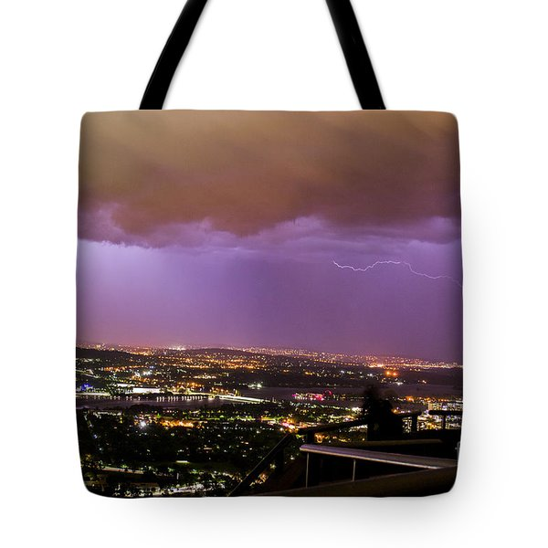 Tote Bag featuring the photograph Canberra Lightning Storm by Angela DeFrias