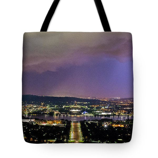 Tote Bag featuring the photograph Canberra Stormy Night by Angela DeFrias