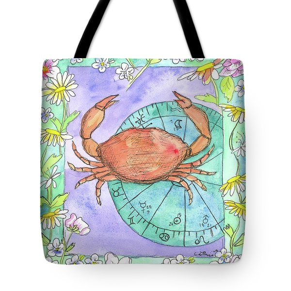 Tote Bag featuring the painting Cancer by Cathie Richardson