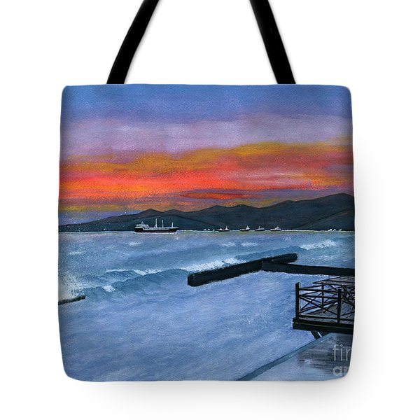 Tote Bag featuring the painting Candidasa Sunset Bali Indonesia by Melly Terpening