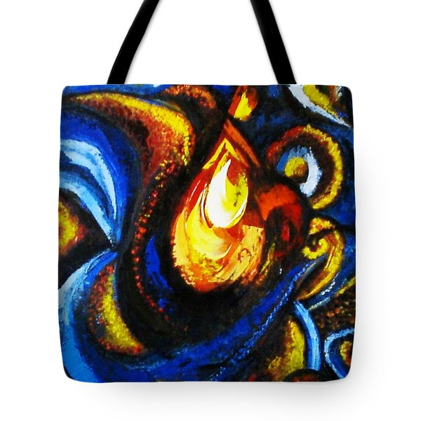 Tote Bag featuring the painting Candle In Your Heart by Harsh Malik