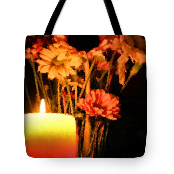 Candle Lit Tote Bag by Kristin Elmquist