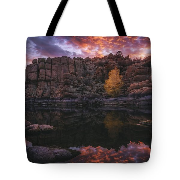 Candle Lit Lake Tote Bag by Peter Coskun