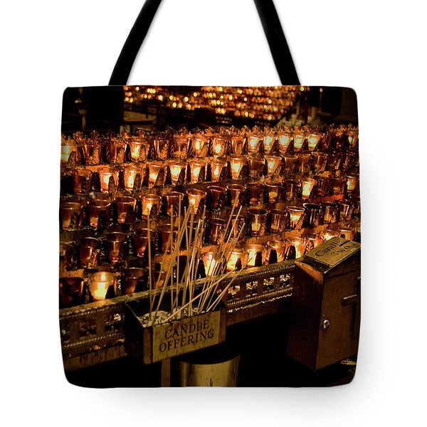 Tote Bag featuring the photograph Candle Offerings St. Patrick Cathedral by Lorraine Devon Wilke