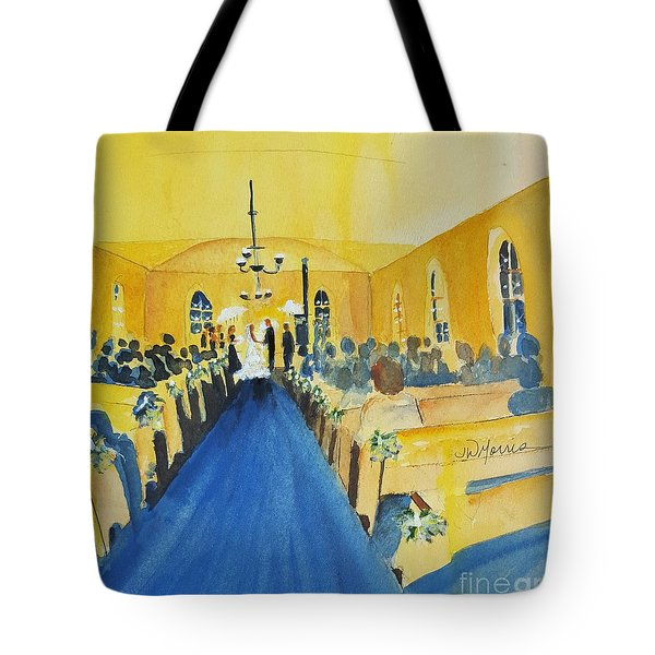 225761fb15 Tote Bag featuring the painting Candlelight Wedding At The Historic Ryssby  Church by Jill Morris