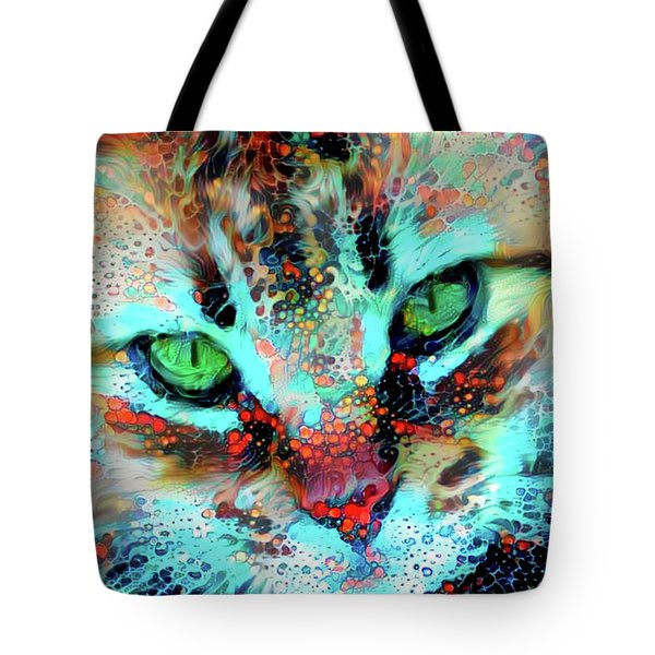 Candy The Colorful Green Eyed Cat Tote Bag