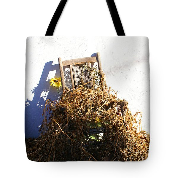 Cane Back Chair And Sunflower Tote Bag