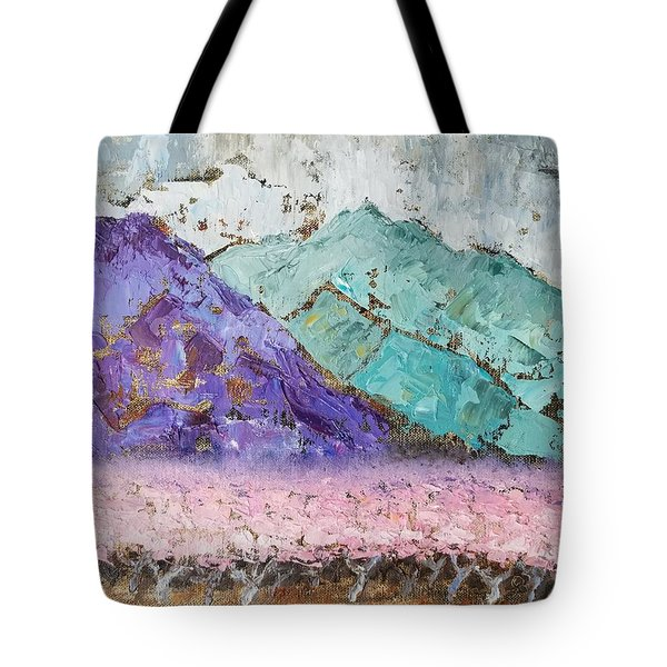 Canigou With Blooming Peach Trees Tote Bag