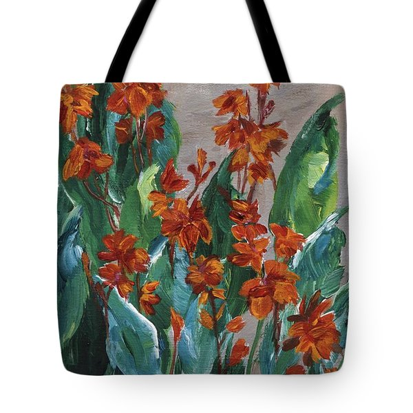 Tote Bag featuring the painting Cannas by Jamie Frier