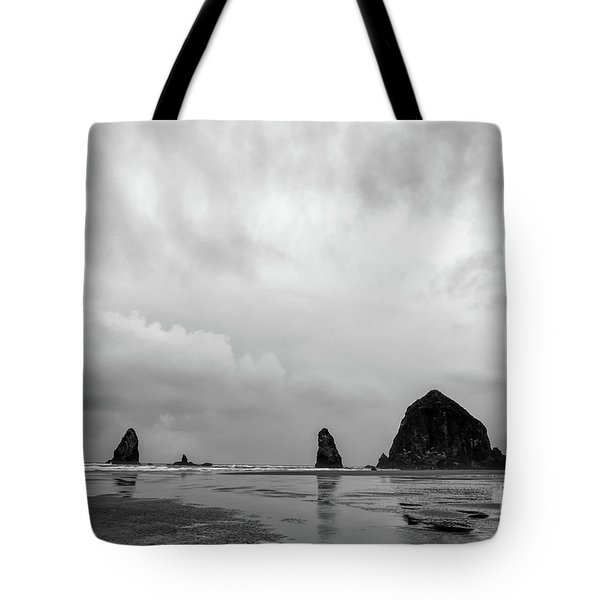 Cannon Beach In Black And White Tote Bag