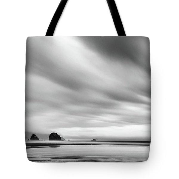 Cannon Beach Long Exposure Sunrise In Black And White Tote Bag