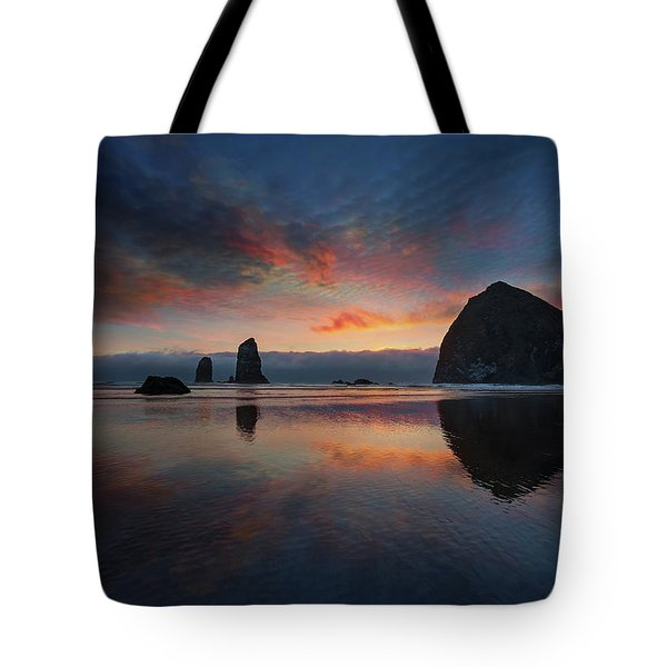 Cannon Beach Sunset Tote Bag by David Gn