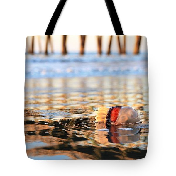 Cannonball Jellyfish Beached Tote Bag