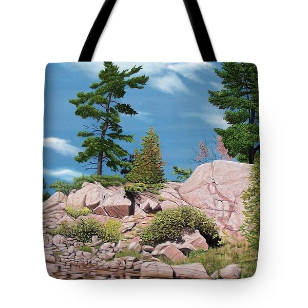 Canoe Among The Rocks Tote Bag